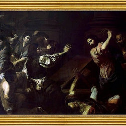 """Valentin De boulogne-16""""x24"""" Framed Canvas - 16"""" x 24"""" Valentin De boulogne Expulsion of the Money-Changers from the Temple framed premium canvas print reproduced to meet museum quality standards. Our museum quality canvas prints are produced using high-precision print technology for a more accurate reproduction printed on high quality canvas with fade-resistant, archival inks. Our progressive business model allows us to offer works of art to you at the best wholesale pricing, significantly less than art gallery prices, affordable to all. This artwork is hand stretched onto wooden stretcher bars, then mounted into our 3"""" wide gold finish frame with black panel by one of our expert framers. Our framed canvas print comes with hardware, ready to hang on your wall.  We present a comprehensive collection of exceptional canvas art reproductions by Valentin De boulogne."""