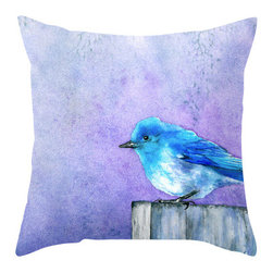 Brazen Design Studio - Decorative Pillow Cover - Bluebird Bliss - Bird Art Throw Pillow Cushion, 20x20 - Liven up your space with a fine art pillow cover featuring my original artwork! This listing is for one pillow cover featuring my vibrant watercolor painting, on 100% spun designer polyester poplin fabric, a stylish statement to brighten up any room.