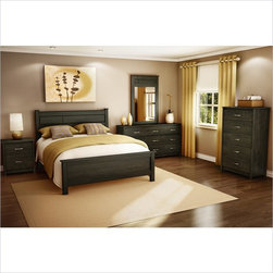 Vendôme 4 PC Bedroom Set in Ebony - Make your bedroom ellegant with Vendôme collection. Its unique Ebony finish makes your room seem warmer and richer. The set includes queen size bed with headboard and footboard, double dresser, mirror and coordinating nightstand.