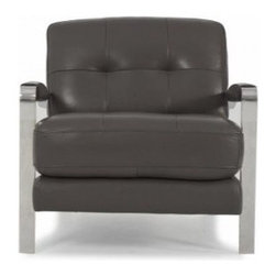 Leather Geary Leather Chair - With undeniable presence. Stainless steel arms and thick, well-cushioned frame add a stronger, more defined look.   Custom leather options as you see fit. Inquire in-store.