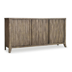 Hooker Furniture - Melange Kashton Credenza - The soft basket weave pattern on the front of the Kashton Credenza sets an organic and natural tone.  Three tray drawers behind center door.  Two adjustable wood shelves behind two outside doors.