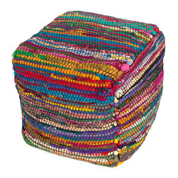 """Jaipur Rugs - Multi Handmade 100% Sari Silk Pouf (16""""x16""""x16"""") - The Bali pouf is from 100% recycled Sari silk from India. Colorful and interesting the Bali pouf is a great accents piece and conversation started."""