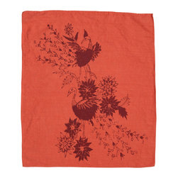 Cricket Radio - Indochine Paradise Hand Towel, Spice/Cherry - Looking for a little soft color and handmade style? This towel can give you a hand. Made of Italian linen, it features a bird and floral pattern and comes in several easy-to-coordinate colors. Use it in the kitchen or bath or buy several to use as oversized napkins.