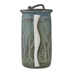 Floating Blue in Green Paper Towel Holder - Carved Leaves -