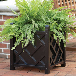Solid Wood Square Chippendale Planter - A very popular design, this solid wood planter features the traditional Chippendale pattern on all four panels. This planter provides superior craftsmanship and UV-rated exterior paint that is lead-free.