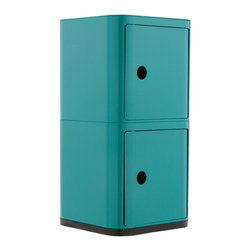 Futuristic Square Cabinet in Turquoise - Welcome to your organized future.  This square storage cabinet features two spacious compartments for hiding away bathroom toiletries, bedside books, or office supplies.  The possibilities are endless, really.  Plus it adds an ultra-modern touch to your dŽcor.