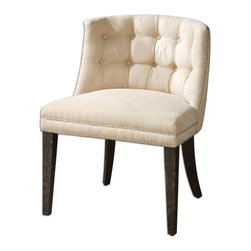 For Sale on BellaVici.com - velvety smooth, cream brushed fabric is button tufted and accented with a double row of steel nails. White mahogany frame is crafted with double doweled joinery and finished in antiqued black, mottled with natural wood undertones. Trixie chair available at hautebox.co