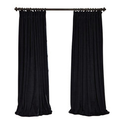 Exclusive Fabrics & Furnishings, LLC - Signature Black Doublewide Blackout Velvet Curtain - 100% Poly Velvet. 3 Pole Pocket. Plush Blackout Lining . Imported. Dry Clean Only.
