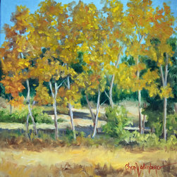 "Oil Paintings by Cheri - Landscape Painting of Yellow and Gold Leaves Treescape - ""Down The Road"" is an original painting that I did from my studio window. Actually it is about 1/8 of a mile from my home. My studio is upstairs and I watch cattle grazing across the road all the time; however, this clump of trees caught my attention one afternoon last week. They are yellow, green and rust colored as the season here in Oklahoma is changing from fall to winter. We still had a lot of green left in our trees until this last freeze. This painting is:"