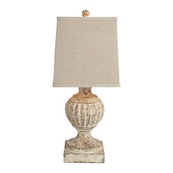 """Kathy Kuo Home - Pair Norwich Square Linen Shade Petite French Country Lamp - A unique accent for small spaces, the Norwich Lamp stands at only 20"""" and is accompanied by a Russet shade and a dark linen shade as part of our seasonal shade program.  Price marked is for a pair."""