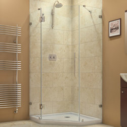 "BathAuthority LLC dba Dreamline - PrismLux Frameless Hinged Shower Enclosure, 40 3/8"" D x 40 3/8"" W x 72"" H - The PrismLux shower enclosure incorporates a unique corner installation design to save space while creating a beautiful focal point. The modern enclosure combines the rich look of impressive 3/8 in. thick tempered glass and the clean lines of a completely frameless design for an upscale custom look. Add a DreamLine shower base and shower backwalls and for an efficient and cost effective way to dramatically transform any shower space."
