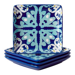 Rachael Ray - Rachael Ray Dinnerware Blue Ikat 4-piece Stoneware Appetizer Plate Set - Give your table setting the pop of color you've been craving with this global-inspired appetizer plate set. Finished in a striking blue color,each plate in this 4-piece set features a decorative ikat pattern.