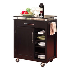 Coaster - Coaster Kitchen Cart w/ 6 Shelves & Caster in Black - Coaster - Kitchen Carts - 910012 - This compact island kitchen cart creates efficiency instantly and expands your kitchen's work and storage area. It features a professional-style solid Birch work surface to complement its beautiful black frame as well as nickel finish hardware for added accent. Behind its cabinet door is an adjustable shelf for convenient and versatile storage making it easy to stay organized and on top of your kitchen materials. Beside the door are five small fixed shelves perfect for tucking in dinnerware or smaller items. Above the shelves and door is one drawer perhaps to store silverware or other utensils. A lifted surface adds visual dimension as well as even more space to place various items such as serving plates or wine and caster wheels enable easy transport from one area to the next. Complete your kitchen area with this one of a kind kitchen serving cart.