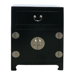 Golden Lotus - Chinese Black Veneer Leather End Table Nightstand - This is a simple end table / nightstand with black color veneer leather on the surface. Silver color hardware is used.