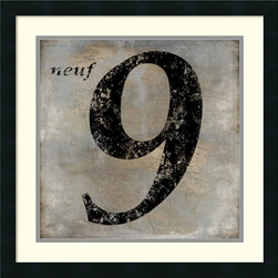 Amanti Art - Oliver Jeffries 'Neuf' Framed Art Print 22 x 22-inch - Lucky number 9.Nine Chinese dragons, Niner, Nine Greek Muses, a stitch in time saves nine, dressed to the nines, Tolkien's nine rings of power, Dante's nine circles of hell, divine number nine, nine innings, cloud nine; celebrate the number nine with this Neuf framed print by Oliver Jeffries.