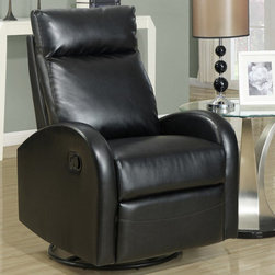 Monarch - Black Bonded Leather Swivel Rocker Recliner - This contemporary design accent chair combines 3 functional elements.....it swivels......it rocks.....and it reclines, ensuring that you are always in a comfortable position. This black bonded leather chair with a padded head rest was designed for ultimate comfort. Whether reading a book or watching sports this will be the chair that everyone will want to sit on. The easy glide motion and the contemporary design makes it a chic and fashionable addition for your den, bedroom, living room or basement. It truly is a chair for any room in your home.