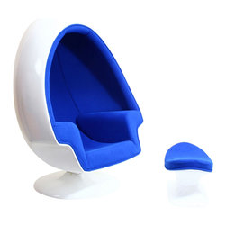 LexMod - Eero Aarnio Alpha Shell Egg Chair And Ottoman in Blue - The unconventional shape and construction of the Alpha Egg Chair makes it perfect for sound isolation, a cozy quiet area to sit and read. Its chamber-like shape and upholstered interior cancels out most outside noise, providing a unique environment for meditation, relaxation or just getting away from it all.