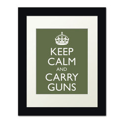 Keep Calm Collection - Keep Calm and Carry Guns, framed print (olive) - This item is an Art Print which means it is a higher-quality art reproduction than a typical poster. Art prints are usually printed on thicker paper, resulting in a high quality finish. This print is produced on a 270 gsm fine art paper stock.