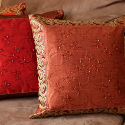 Fun Decorative Pillow Combinations Fun Deep Red And
