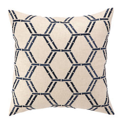 """Courtney Cachet - Bamboo Embroidered Decorative Pillow - The modern prints and vibrant colors of this pillow mirror the designer's well-known positive and energetic attitude for a vibe that can only be described as happy and high-spirited. Features: -Modern prints and vibrant colors. -Down-filled. Dimensions: -16"""" H x 16"""" W x 5"""" D, 4 lbs."""