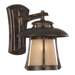 Kenroy Home - Kenroy 03195 Laguna Med. Wall Lantern GBRZ - With its pagoda-inspired shape and delicately frosted shade, Laguna is a perfect fit for lovers of Asian-inflected design, or those looking to make an eclectic style statement.