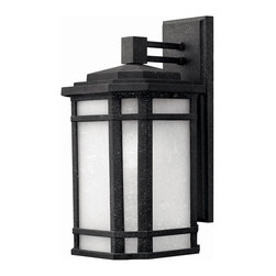 Hinkley Lighting - Cherry Creek Exterior Wall Sconce - Cherry Creek exterior wall sconce has white linen glass and a vintage black finish. Available in two sizes. One 75 watt 120 volt A19 lamp, not included. Small: 6.5 inch width x 11 inch height x 7.25 inch depth. Large: 8.5 inch width x 15.25 inch height x 9.25 inch depth. General light distribution. Energy Saving/Dark Sky options also available.  Rated for Wet Locations.