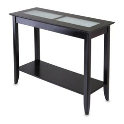 Winsome Trading - Loren Console End Table with Frosted Glass Tiles - Update your furniture with an easy solution that is stylish in presentation as it warms your household. This durable hardwood console hall table features a rich espresso finish and two frosted glass tiles.