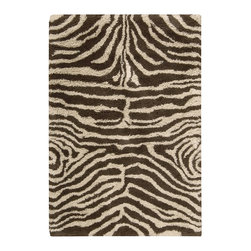 "Nourison - Nourison Splendor Animal Prints Shag Zebra Ivory Brown 7'6"" x 9'6"" Rug by RugLot - Create an atmosphere of casual elegance with these marvelous solid and patterned shag rugs. Get a groove going in your interiors with these updated, vibrant, multi-hued, atmospheric colors. This collection is perfect for a variety of decors, from contemporary to eclectic."