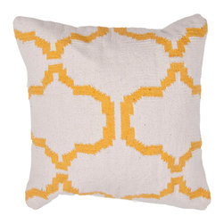 """Jaipur Rugs - Yellow/Ivory color cotton alhambra pillow poly fill pillow 18""""x18"""" - Hand woven from 100% cotton the Cadiz pillow collection offers a range of open geometrics in bold color combinations. The collection coordinates with Jaipur Maroc and Urban bungalow flat weave rugs."""