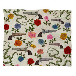 DENY Designs - Belle13 Sweet Guns And Roses Fleece Throw Blanket - This DENY fleece throw blanket may be the softest blanket ever! And we're not being overly dramatic here. In addition to being incredibly snuggly with it's plush fleece material, it's maching washable with no image fading. Plus, it comes in three different sizes: 80x60 (big enough for two), 60x50 (the fan favorite) and the 40x30. With all of these great features, we've found the perfect fleece blanket and an original gift! Full color front with white back. Custom printed in the USA for every order.