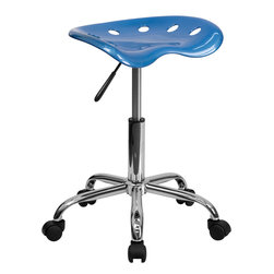 Flash Furniture - Flash Furniture Vibrant Bright Blue Tractor Seat & Chrome Stool - LF-214A-BRIGHT - On the market for a stool but want to add a little color to your home or office? This sleek, modern stool conforms to several areas in the home or office. The molded tractor seat offers great comfort. The small frame design of this backless stool makes it easy to maneuver around tight spaces with ease. This stool can be used for a variety of reasons other than just at a desk and is offered at a very affordable price. [LF-214A-BRIGHTBLUE-GG]
