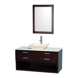 Wyndham Collection - Andrea Espresso with White Man-Made Stone Top with Ivory Marble Sink - Modern, completely original and part of the Wyndham Collection Designer Series by Christopher Grubb, the Andrea vanity is at home in any modern bathroom decor. Offering plenty of concealed and open storage space, and with a choice of green or white glass counters, and several different sinks, you can create the perfect vanity for your own personal style. Featuring soft close door hinges and drawer glides, you'll never hear a drawer slam shut again!. Dimensions: 48 in. x 22 in. x 24 in.