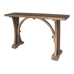 Genessis Reclaimed Wood Console Table - Solid, Reclaimed Fir Wood In Natural, Sun Bleached Finish With Light Antiquing Glaze.