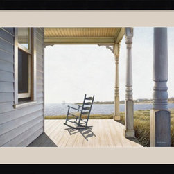 Amanti Art - Snug Harbor Framed Print by Daniel Pollera - Inspired by the styles of Hopper, Homer and Wyeth, Daniel Pollera's work evokes tranquility and solitude. Living by the coastal landscapes that he paints, Pollera brings an almost photographic realism to his beach scenes.