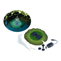 STI - Smart Solar Inc. - Floating Solar Pond Lily Fountain (New Version) - Solar Lily Fountain floats in pond and sprays water when in direct sunlight. Lily is made from EVA foam so it moves with the water. Includes 3 spray nozzles for varying spray pattern and height. Height of spray will vary with intensity of sun.