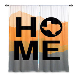 """DiaNoche Designs - Window Curtains Lined by Jackie Phillips Home Texas Orange - Purchasing window curtains just got easier and better! Create a designer look to any of your living spaces with our decorative and unique """"Lined Window Curtains."""" Perfect for the living room, dining room or bedroom, these artistic curtains are an easy and inexpensive way to add color and style when decorating your home.  This is a woven poly material that filters outside light and creates a privacy barrier.  Each package includes two easy-to-hang, 3 inch diameter pole-pocket curtain panels.  The width listed is the total measurement of the two panels.  Curtain rod sold separately. Easy care, machine wash cold, tumble dry low, iron low if needed.  Printed in the USA."""