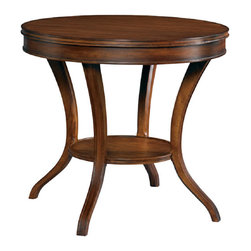 Hickory White - Hickory White Round Lamp Table 303-20 - Perillo solids with cherry veneers hand planed top, light distressing.