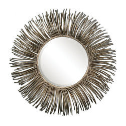 Uttermost - Akisha Starburst Mirror - If you're looking for a statement piece that'll lift your spirits, look no further. When you look closely, you'll see hundreds of antiqued metal tubes that create the starburst effect. Hang it above a fireplace, in an entryway or dressing room.