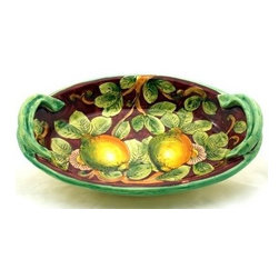 Artistica - Hand Made in Italy - LIMONI FONDO BORDEAUX: Oval Bowl Tray w/handles (Large) - LIMONI BORDEAUX Collection: