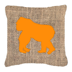 Caroline's Treasures - Gorilla Burlap and Orange Fabric Decorative Pillow Bb1129 - Indoor or Outdoor Pillow from heavyweight Canvas. Has the feel of Sunbrella Fabric. 18 inch x 18 inch 100% Polyester Fabric pillow Sham with pillow form. This pillow is made from our new canvas type fabric can be used Indoor or outdoor. Fade resistant, stain resistant and Machine washable..