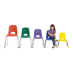"Ecr4kids - Ecr4Kids Preschool Playroom 14"" Stack Chair - Chrome Legs Sand 6 Pack - Innovative school stack chair features a molded seat with vented back, reinforced ribbing in back and under seat for strength, steel legs with steel lower back support. No penetration of screws through the seat surface. Available with composite ball glides for durability and protection on hard floors and carpet or standard glides."