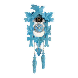 HOK Concepts - Design Collection Quartz Cuckoo Clock, blue/white - Design Collection Quartz Pendulum Cuckoo Clock with Cuckoo Chime. This wall clock features a high quality german quartz movement and and an easy-to-read wooden dial. It is complete with a wooden pendulum and decorative wooden pinecones. The cuckoo clock is ornately decorated with a traditional leaf-and-bird motif. A cuckoo sound with echo announces each hour. The battery operated movement with automatic night shut-off from 9 pm until 6 am operates with 2 'C' battery (not included). It is made in the Black Forest of Germany. The dimensions are without pendulum and cones. Great effort has been made to portray this clock as accurately as possible. As with many handmade items, the exact coloration and carving may vary slightly from item to item.