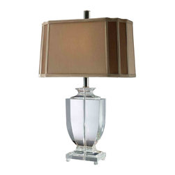 Dimond Lighting - Dimond Lighting D1814 Layfette Clear Table Lamp - Layfette Table Lamp in Clear Crystal with Cream and Taupe Faux Silk Shade and Light Taupe Liner