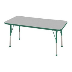 """Ecr4kids - Ecr4Kids Adjustable Activity Table Rectangular 24"""" X 48"""" Elr-14107-Ggn-Tb Green - Table tops feature stain-resistant and easy to clean laminate on both sides. Adjustable legs available in 3 different size ranges: Standard (19""""-30""""), Toddler (15""""-23""""), Chunky (15""""-24""""). Specify edge banding and leg color. Specify leg type."""