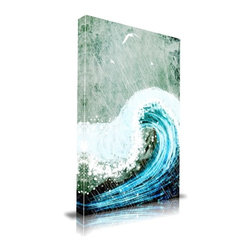 """Apt2B - The Great Wave' Print by Maxwell Dickson, 24"""" x 36 - The pelting rain, the crashing wave, the soaring birds — it all comes together in this handsome, stirring artwork from Maxwell Dickson. Printed in Los Angeles on archival-quality canvas, then mounted on stretchers like a museum original, this thrilling piece is sure to evoke sounds and memories in anyone who sees it."""
