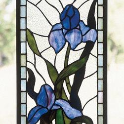 "Meyda - 9"" x 20"" Iris Window Windows - Color Theme: Zaz Lt Blue Purple, Blue 59 Purple, Blue."