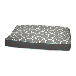 ez living home - Giraffe Memory Foam Topper Pillow Bed Grey - Your old furry friend may not be quite the fierce hunter he is in his dreams, but don't tell him that. Just let him sleep cozily on this wild animal print covered bed and let the orthopedic memory foam ease his tired joints while visions of running animals dance through his head. The subtle gray and cream giraffe print is reversible, the better to match your pet's light or dark hair, as well as your living room.