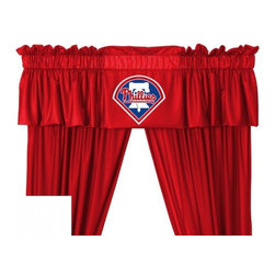 Sports Coverage - MLB Philadelphia Phillies Valance - Finish off the room in style with this great looking MLB Philadelphia Phillies Valance. A must have for any true fan! Show your team spirit with this officially licensed MLB team Valance. Valance is 14L x 88W. Has a 3 rod pocket for gathering, and 2 header. Logo is screenprinted. Machine washable. 100% Polyester Jersey Mesh.
