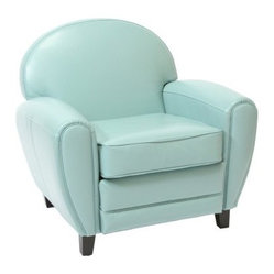 Teal Blue Leather Cigar Chair