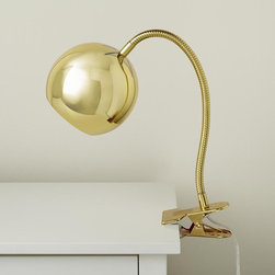 Modern Clip Lamp, Gold - Use a gold gumball lamp in the office. Simple yet shiny, this is great for task lighting.